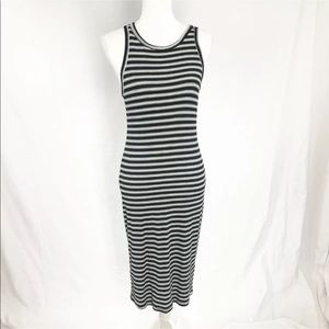 LUSH Med B & W Stripe Maxi Ribbed Fitted Dress 896